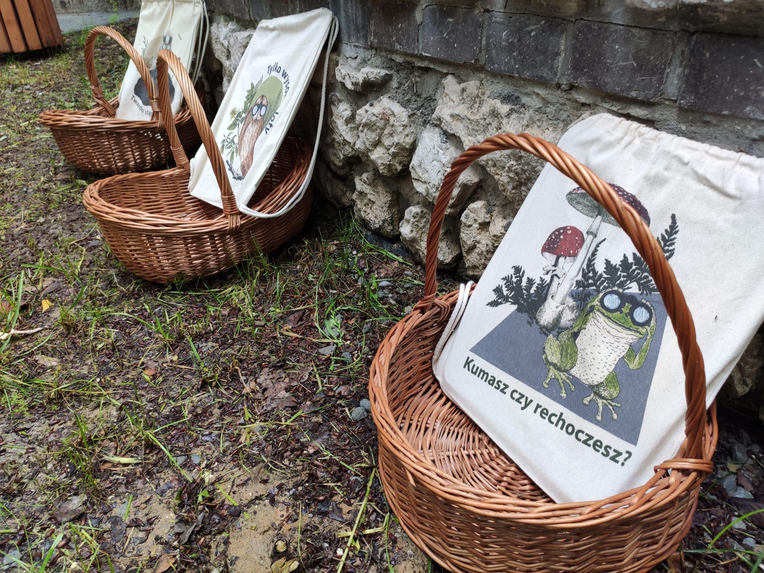 Zdjęcie przedstawiające trzy wiklinowe kosze, a w nich torby lniane CEE Symbioza