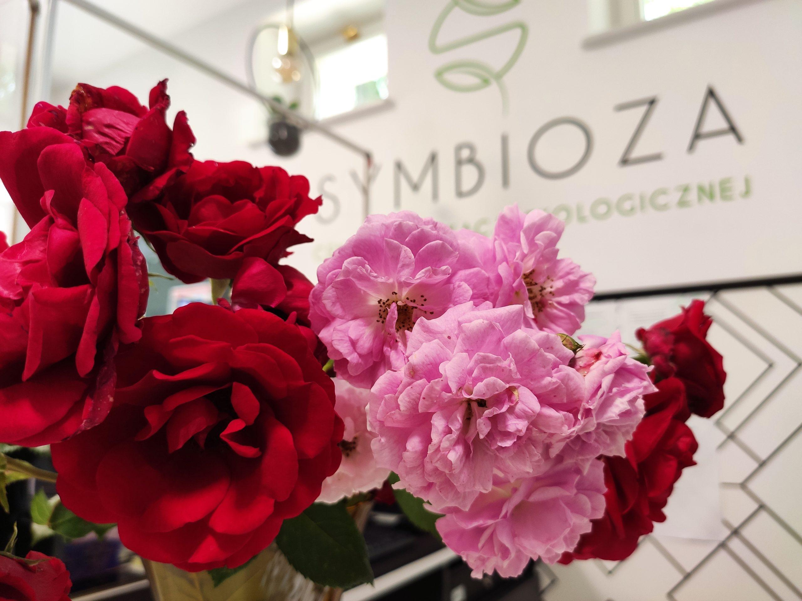 Zdjęcie przedstawiające czerwone róże w wazonie na recepcji CEE Symbioza