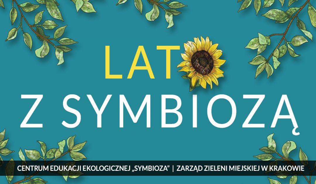 Niebieski baner promujący akcję Lato z Symbiozą - w tle słoneczniki i zielone liście