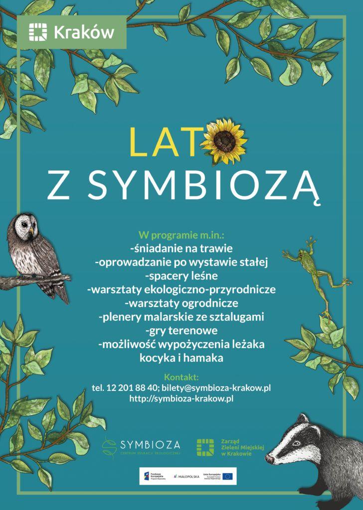 Plakat promujący Lato z Symbiozą na niebieskim tle - w tle gałązki drzew z Puszczykiem, Rzekotką i Borsukiem